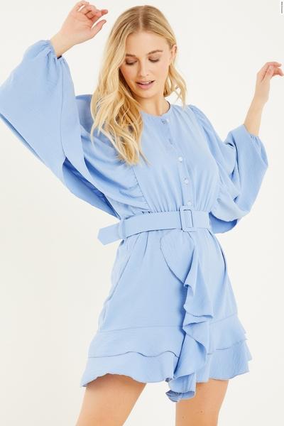 Blue Frill Skater Dress